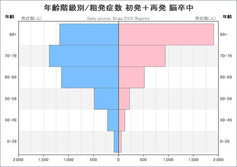 グラフ:年齢階級別/粗発症数 初発+再発 脳卒中
